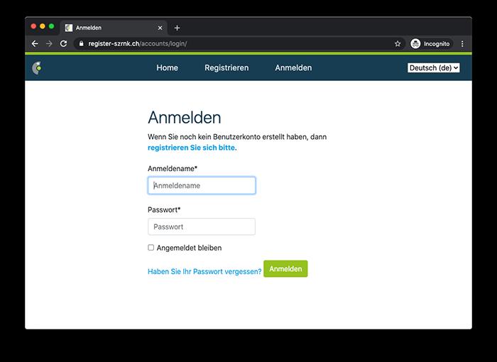 Register-SZRNK Anmelden